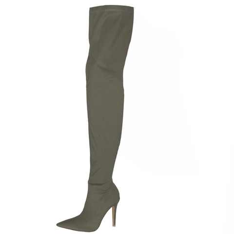 High Heel Bright Color Thigh High Stretch Boots