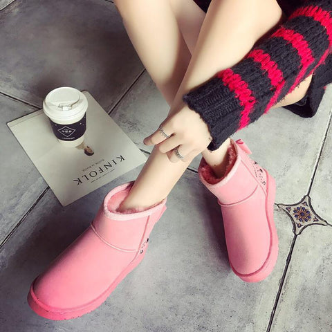 Snow Fur Rivet Ankle Low Heel Boots