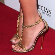 Gold Patent Leather Chain High Heel Sandals