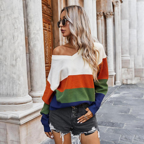 V Neck Colorblock Oversized Sweater