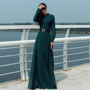 Long Sleeves Chiffon Button Decorate Pleat Long Maxi Dress - Shoes-Party - 3