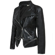 Black PU Zipper Moto Jacket