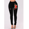 Embroidery Flowers Cut Out High Waist Elasticity Slim Long Jeans