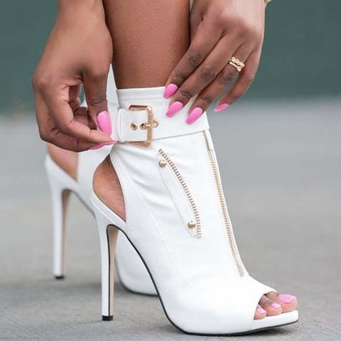 Leather High Heel Buckle Chain Sandals