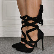 Black Suede Point Toe Ankle Strap High Heel Sandals