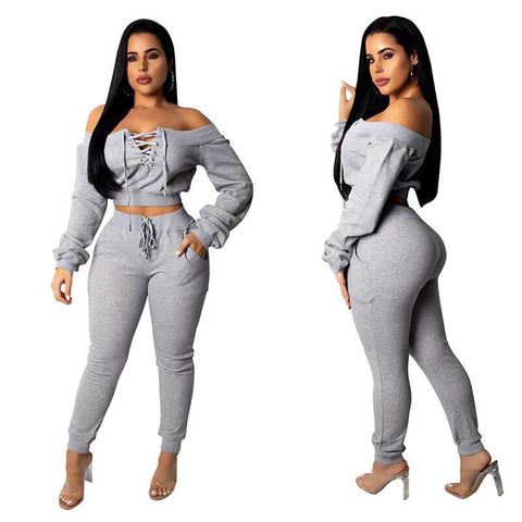Lace Up Crop Top High Waist Skinny Pants Set