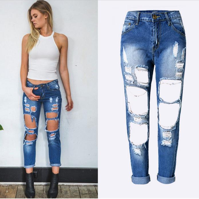 Holes Loose Solid Blue Straight 9/10 Boyfriend Jeans - Meet Yours Fashion - 2