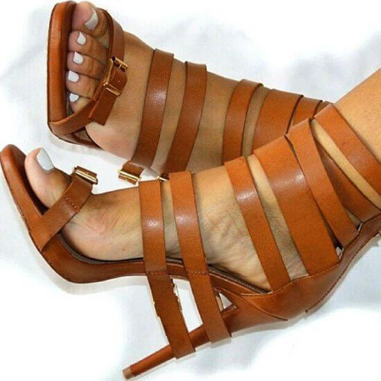 Brown Buckle Cutout Leather High Heel Sandals
