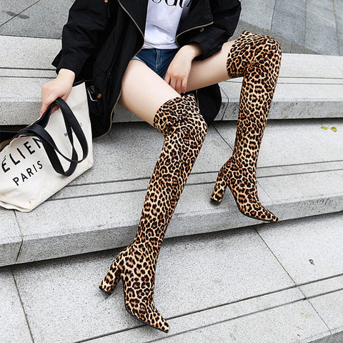 Winter Chunky High Heel Over Knee Sock Boots