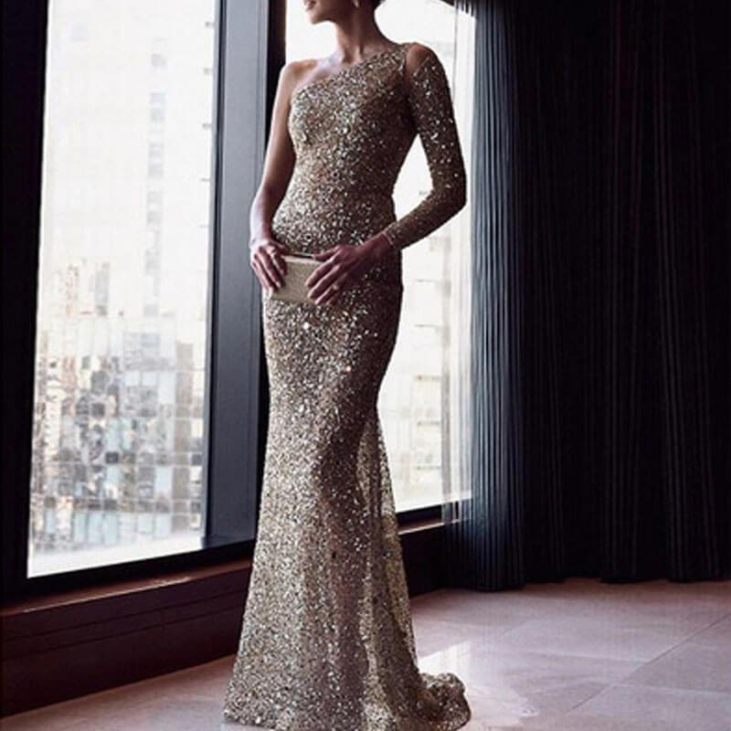 One Shoulder Silver Floor Length Evening Dress