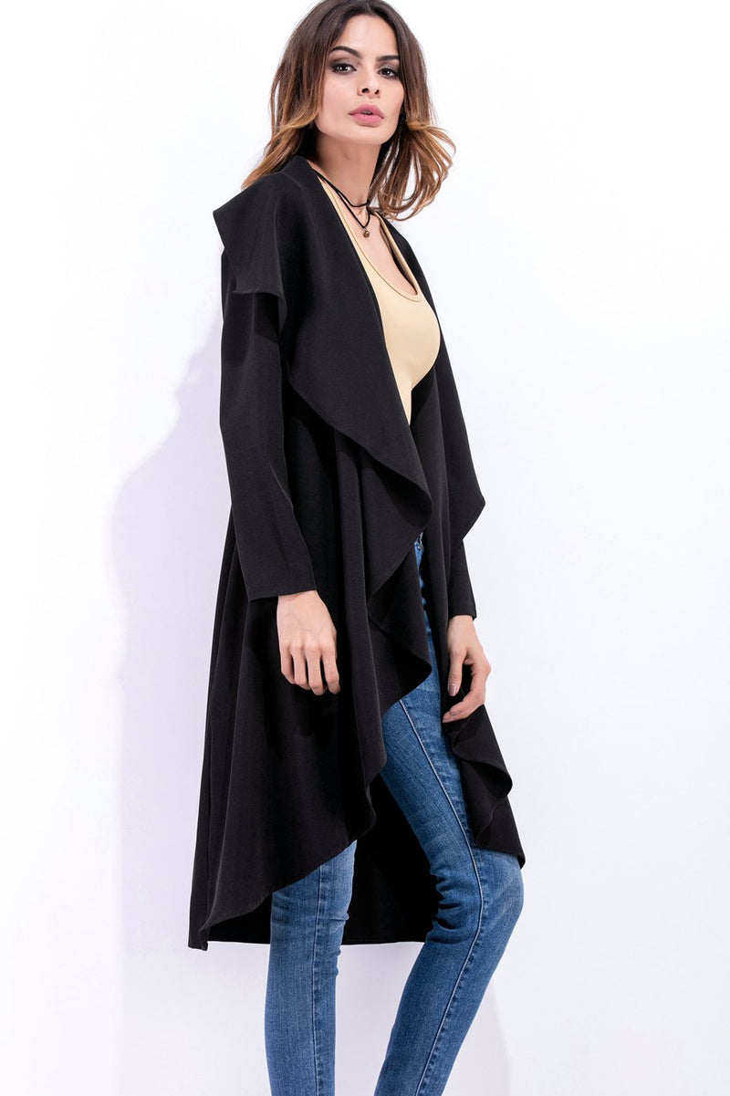 Ruffles Lapel Solid Color Long Irregular Coat