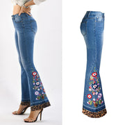 Flare High Waist Embroidery Leopard Patchwork Denim Pants