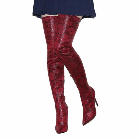Thigh High Snakeskin Heel Boot