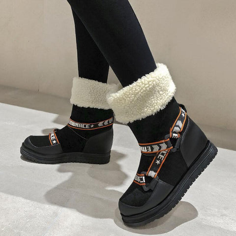 Flat Round Toe Patchwork Mid Calf Boots