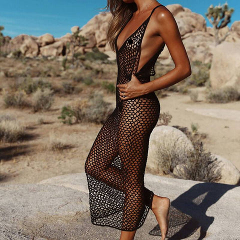 Eye Let See Through Midi Beach Dress