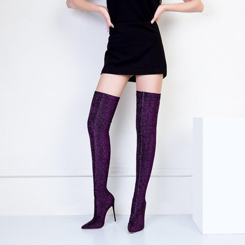 Sequin Stretch Point Toe High Heel Thigh High Boots