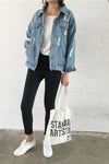 Long Sleeves Pure Color Label Loose Denim Jacket
