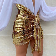 Party High Waist Bodycon Sequin Strap Skirts