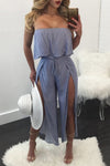 Strapless Ruffles Split Stripes Tee-length Jumpsuit