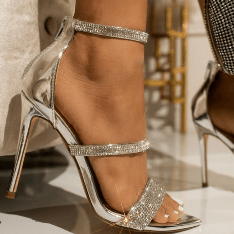 Rhinestone Buckle Point Toe High Heel Sandals