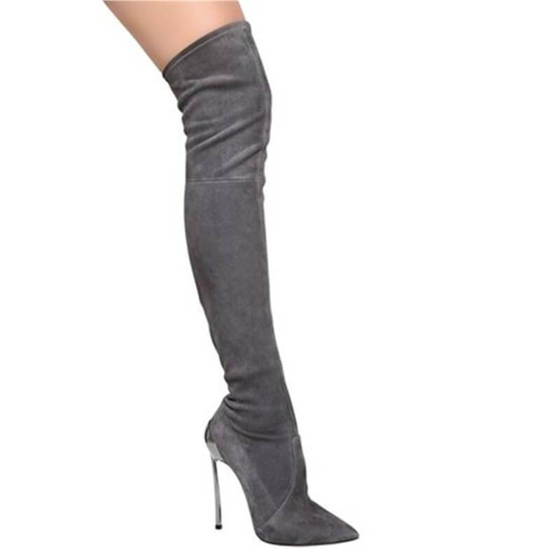 Gray Suede Pointed Toe High Heel Knee High Boots