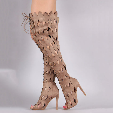 Cutout Strap Peep Toe Knee High Boots