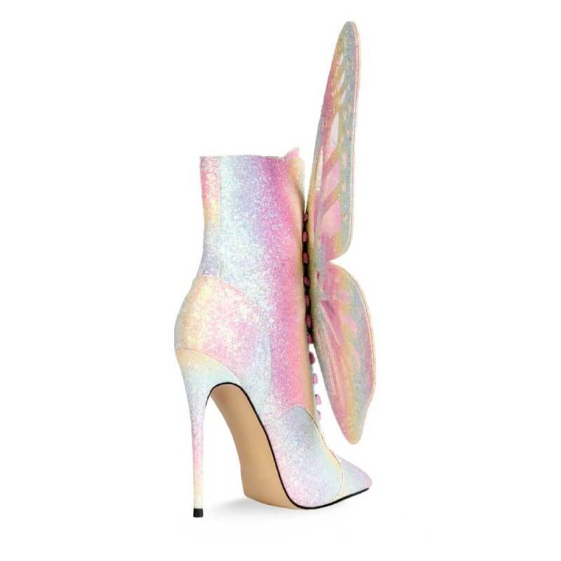 Party Sequin Butterfly Pointed Toe High Heel Calf Boots