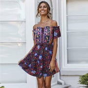Off Shoulder Floral Boho Short Dress