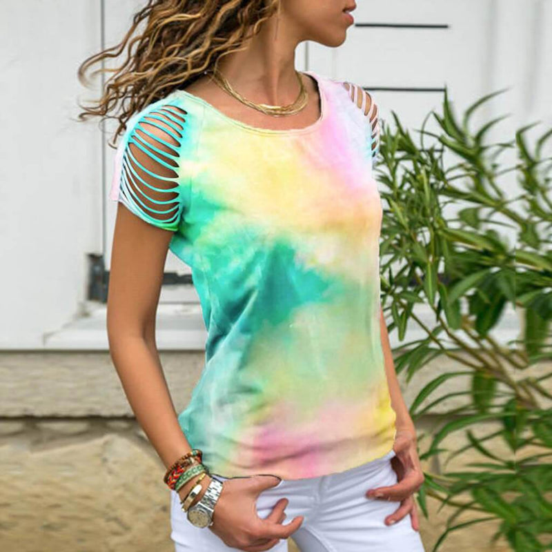 Summer Tie Dye Short Sleeve Cutout Loose T-shirts