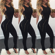 Sleeveless Bandage Cut Out Fitting Jumpsuits