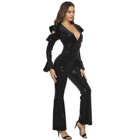 Bell Bottom Sparkly Ruffles Cold Shoulder Jumpsuit