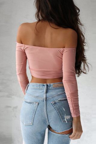 Long Sleeves Off Shoulder Cross Crop Top