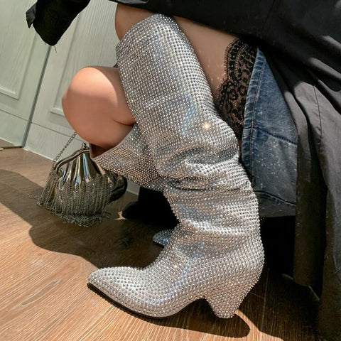 Party Rhinestone Point Toe Wedge Knee High Boots