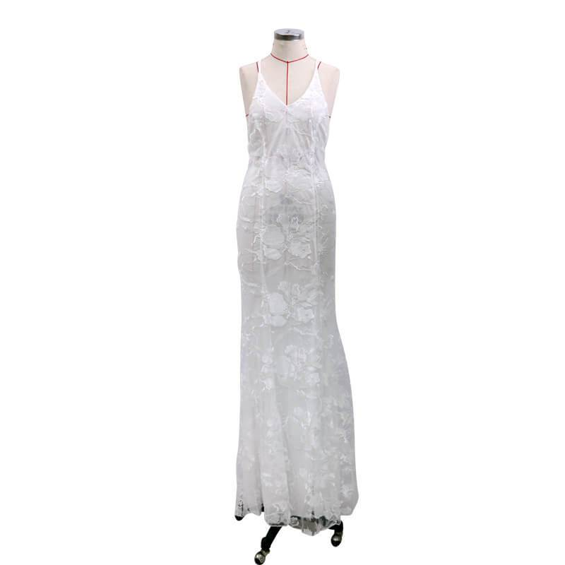Backless Lace Floor Length Sling Dress