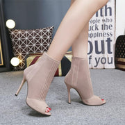 Peep Toe High Heel Knit Ankle Sandal Boots