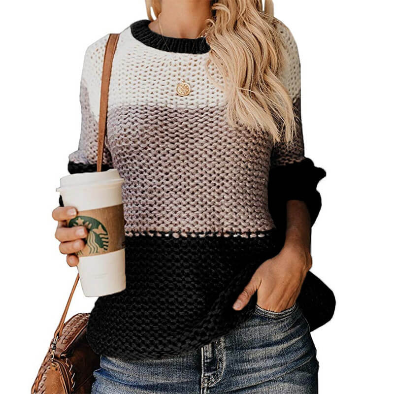 Colorblock Striped Crocheted Pullover Sweater