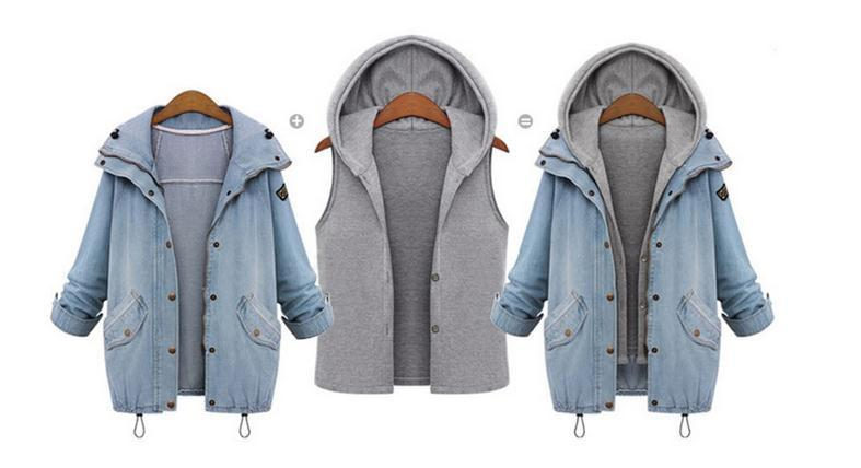 Blue Hooded Drawstring Denim Two Pieces Coat - Bags in Cart - 7