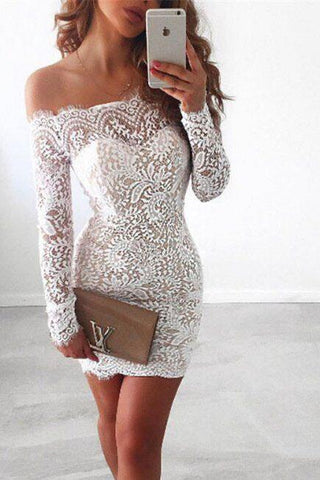 Off Shoulder Long Sleeves Short Bodycon Lace Dress