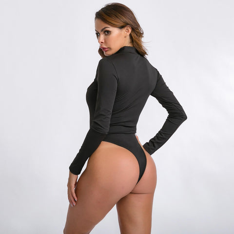 Sexy Black Long Sleeves O Neck Cutout Bodysuit