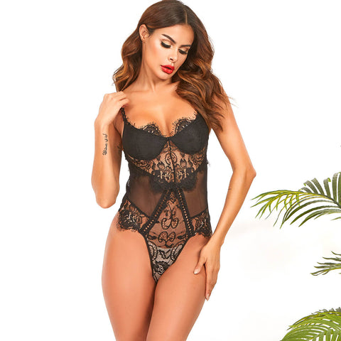 Black Sleeveless Lace Mesh Patchwork Spaghetti Strap Bodysuits