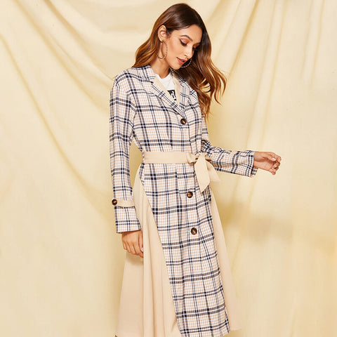 Slim Plaid Trench Coat