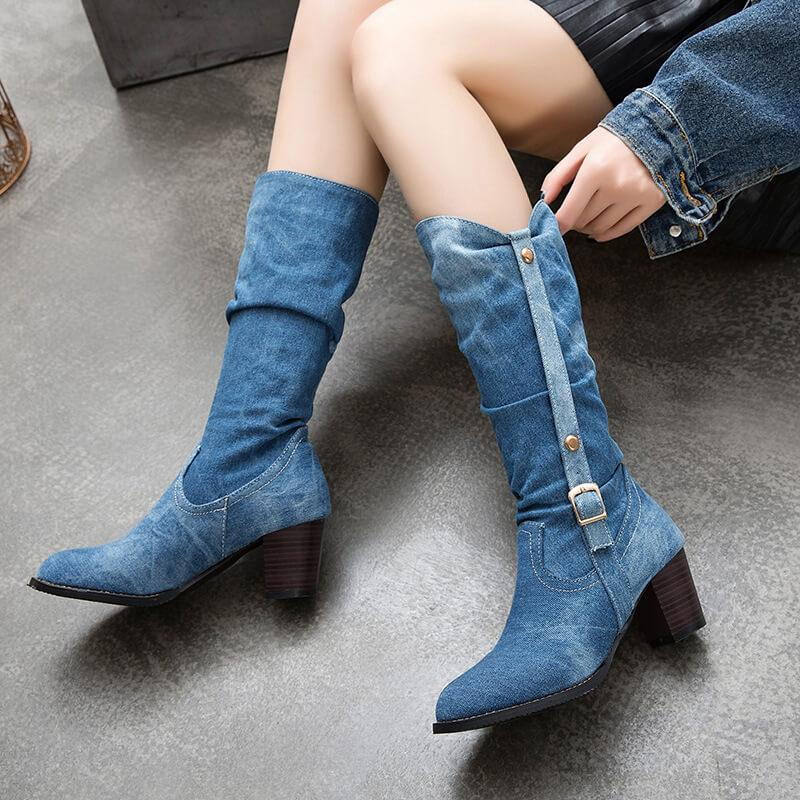 Fabric Low Chunky Heel Mid Calf Boots