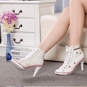 Canvas Lace Up High Heel Rivet Ankle Boots