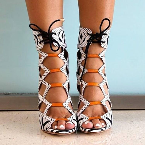 Black Gladiators Lace Up Strappy Ankle Sandals