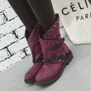 Leather Rivet Chunky Buckle Low Heel Calf Boots
