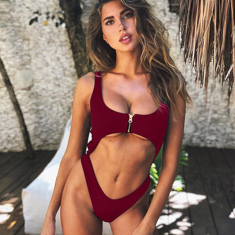 Zipper Pure Color Spaghetti Straps Cut Out One Piece Swimwear