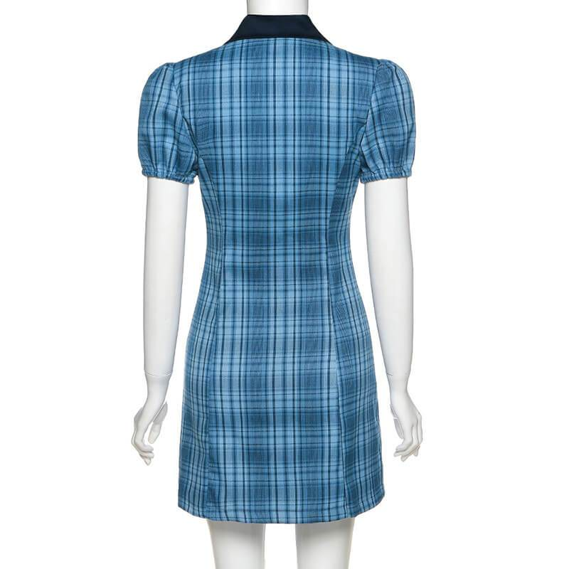 Tight Lapel Plaid Short Dress