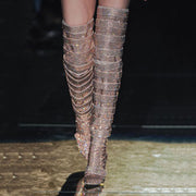 Fashion Rhinestone Buckles Pointed Toe Over Knee Boots