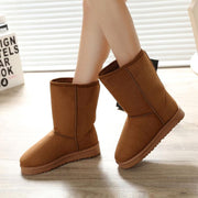 Snow Fur Wedge Round Toe Flat Boots