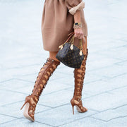 Leather Cutout Open Toe High Heel Knee High Boots